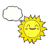 Cartoon happy sun with thought bubble Stock Images
