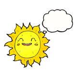 Cartoon happy sun with thought bubble Stock Photos
