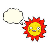 Cartoon happy sun with thought bubble Royalty Free Stock Photos