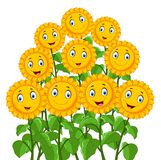 Cartoon happy sunflowers Stock Image