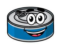 Cartoon happy tin can character Stock Photos