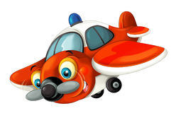 Cartoon happy traditional fire fighting plane with propeller smiling and flying Stock Photography