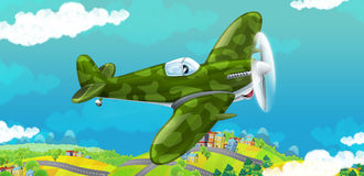 Cartoon happy traditional military plane with propeller smiling and flying over city Royalty Free Stock Photos