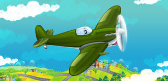 Cartoon happy traditional military plane with propeller smiling and flying over city Stock Image