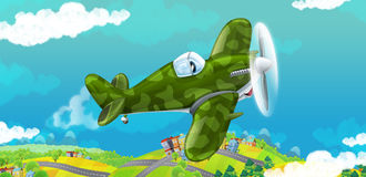 Cartoon happy traditional military plane with propeller smiling and flying over city Stock Photo