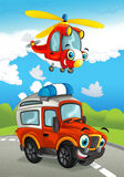 Cartoon happy traditional offroad truck and helicopter smiling and flying over Stock Images