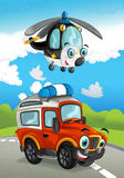 Cartoon happy traditional offroad truck and helicopter smiling and flying over Stock Photo