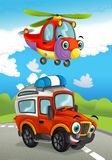 Cartoon happy traditional offroad truck and helicopter smiling and flying over Stock Photos