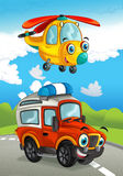 Cartoon happy traditional offroad truck and helicopter smiling and flying over Royalty Free Stock Images