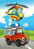 Cartoon happy traditional offroad truck and helicopter smiling and flying over Royalty Free Stock Image