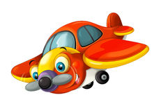 Cartoon happy traditional plane with propeller for fire fighting smiling and flying. Beautiful and colorful illustration for the children - for different usage stock illustration