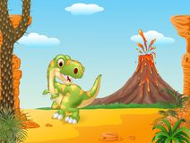 Cartoon happy tyrannosaurus dinosaur in the volcano background Stock Image