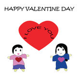 Cartoon for happy valentine day Stock Image