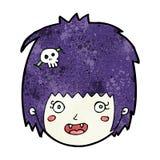 Cartoon happy vampire girl face Stock Image