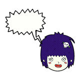 cartoon happy vampire girl face with speech bubble Royalty Free Stock Images
