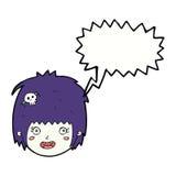 cartoon happy vampire girl face with speech bubble Stock Photos