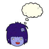 cartoon happy vampire girl face with thought bubble Royalty Free Stock Photography