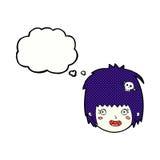 cartoon happy vampire girl face with thought bubble Stock Photos
