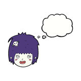 cartoon happy vampire girl face with thought bubble Royalty Free Stock Image