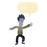 Cartoon happy vampire man with speech bubble Royalty Free Stock Photos
