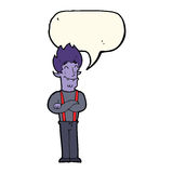 Cartoon happy vampire man with speech bubble Stock Photo