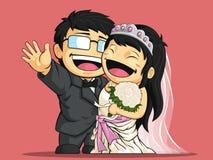Cartoon of Happy Wedding Bride & Groom Royalty Free Stock Photography