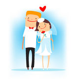 Cartoon happy wedding Royalty Free Stock Images