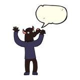 Cartoon happy werewolf man with speech bubble Royalty Free Stock Photography