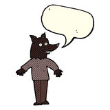 Cartoon happy werewolf with speech bubble Royalty Free Stock Photo