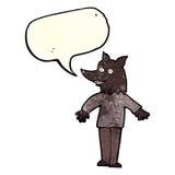 Cartoon happy werewolf with speech bubble Stock Photography