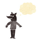 Cartoon happy werewolf with thought bubble Stock Image