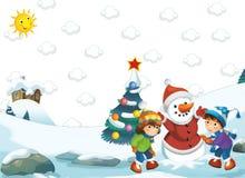 Cartoon happy winter scene - boy and girl making a snowman Stock Image