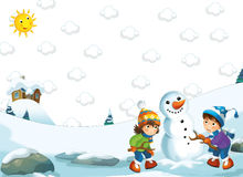 Cartoon happy winter scene - boy and girl making a snowman Stock Photos