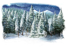 Cartoon happy winter scene in the mountains Royalty Free Stock Image