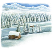 Cartoon happy winter scene in the mountains with wooden houses Stock Photos