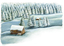 Cartoon happy winter scene in the mountains with wooden houses Royalty Free Stock Photos