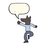 Cartoon happy wolf man with speech bubble Stock Images
