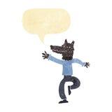 Cartoon happy wolf man with speech bubble Stock Photo
