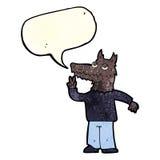 Cartoon happy wolf man with speech bubble Royalty Free Stock Image