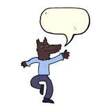 Cartoon happy wolf man with speech bubble Stock Photography