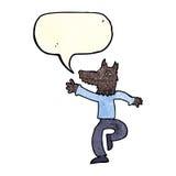 Cartoon happy wolf man with speech bubble Stock Image