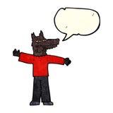 Cartoon happy wolf man with speech bubble Royalty Free Stock Photography