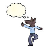 Cartoon happy wolf man with thought bubble Royalty Free Stock Photography