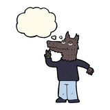Cartoon happy wolf man with thought bubble Stock Photos