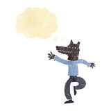 Cartoon happy wolf man with thought bubble Royalty Free Stock Images