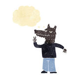 Cartoon happy wolf man with thought bubble Royalty Free Stock Image