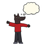 Cartoon happy wolf man with thought bubble Stock Images