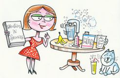 Cartoon of happy woman baking scones in kitchen. In this original cartoon, a smiling housewife is shown making smoothie milkshakes in her kitchen Stock Image