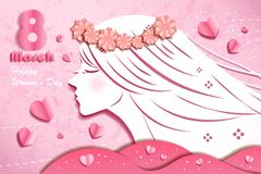 Cartoon happy woman day. On the pink background Stock Photo