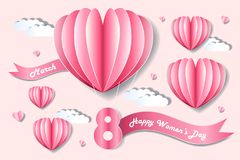 Cartoon happy woman day. On the pink background Stock Photos
